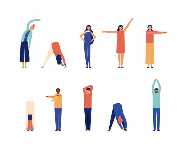 Set of people stretching taking active work breaks  vector