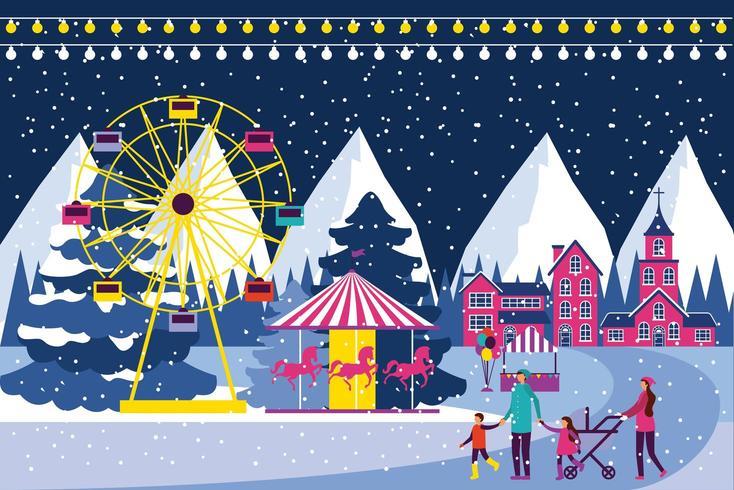 Winter carnival scene  vector
