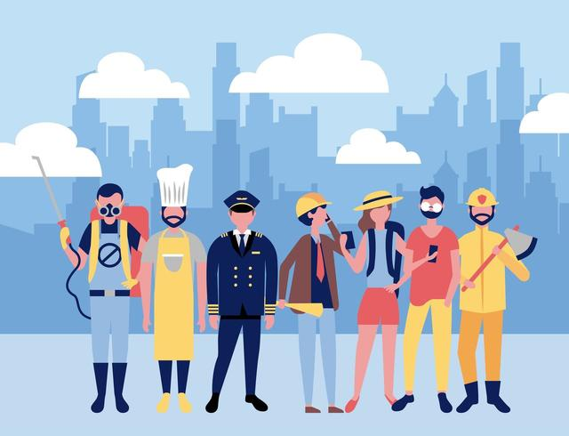 Trabajadores profesionales en la ciudad vector