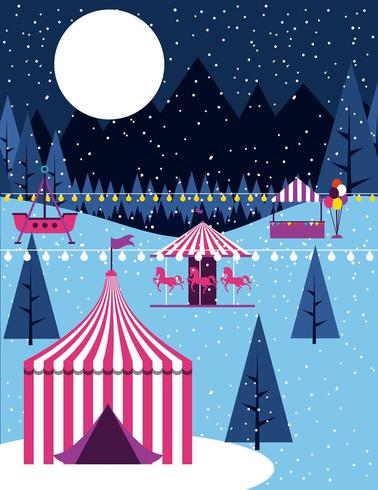 Cena de carnaval de circo de inverno vetor