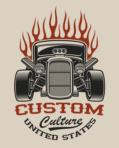 T-shirt design with a hot rod  vector