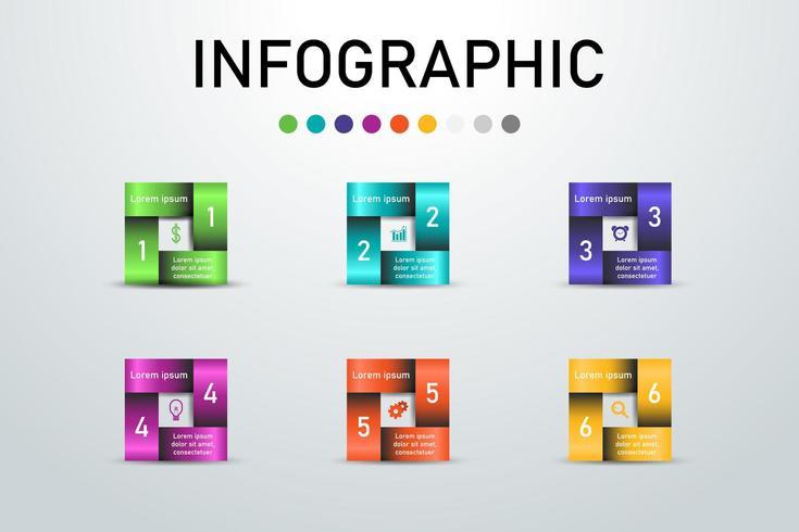 Infografica quadrata colorata.