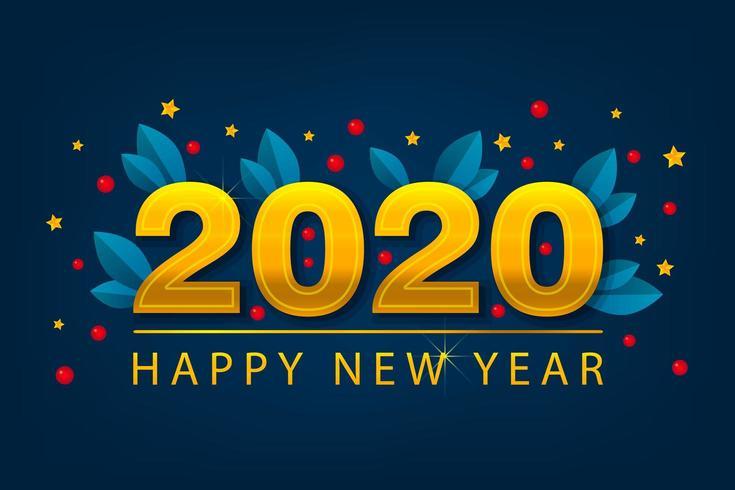 Nytt år 2020-banner med gyllene stjärnor. Vinterkort. Säsongsposter.