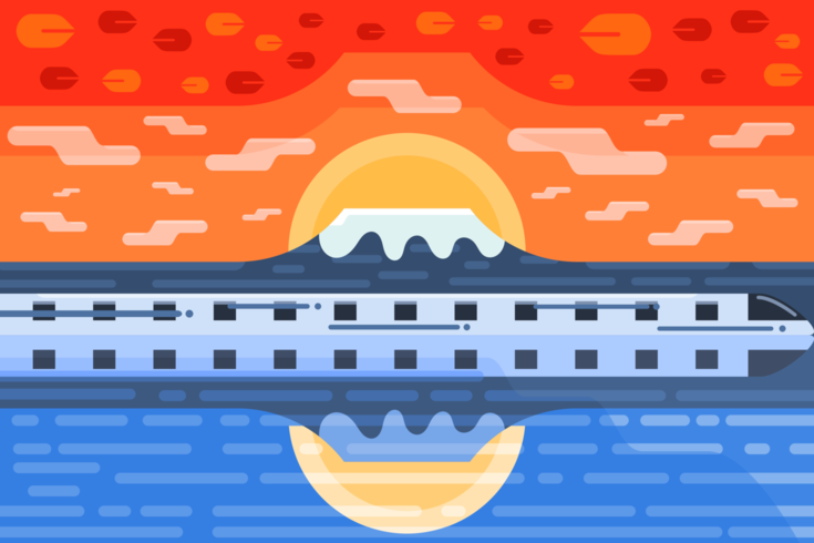 Autumn sunset and snow mountain landscape flat design.