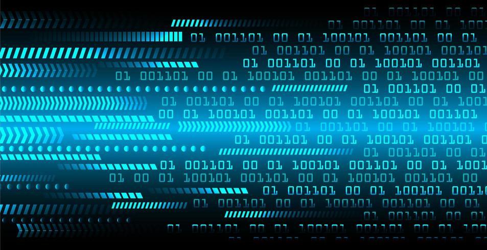 Conceito de circuito cibernético binário azul vetor