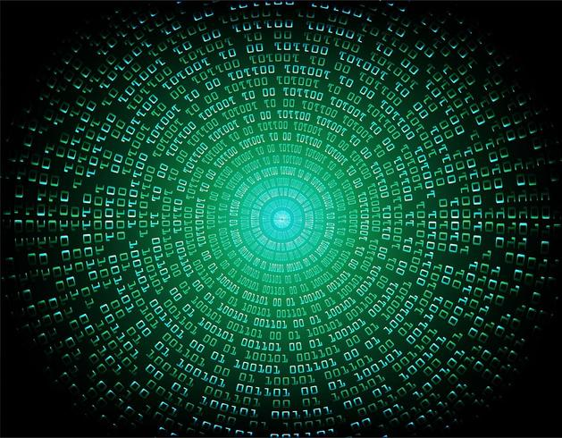Circuito cibernético binario verde vector