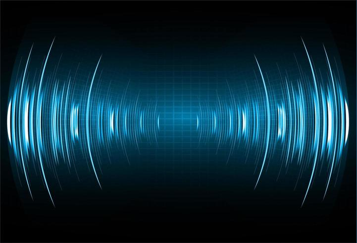 Ondas sonoras oscilantes de luz azul oscuro vector