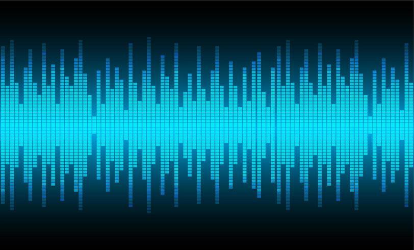 Ondas sonoras oscilando luz azul vector