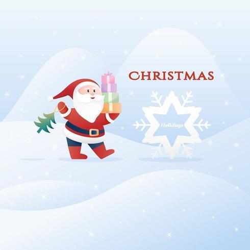 Babbo Natale che tiene le scatole regalo e l'albero di Natale.