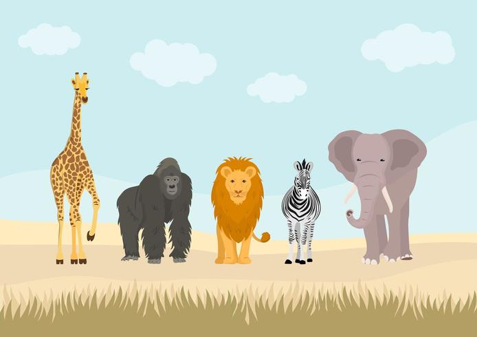 Set of African animals in the jungle. vector