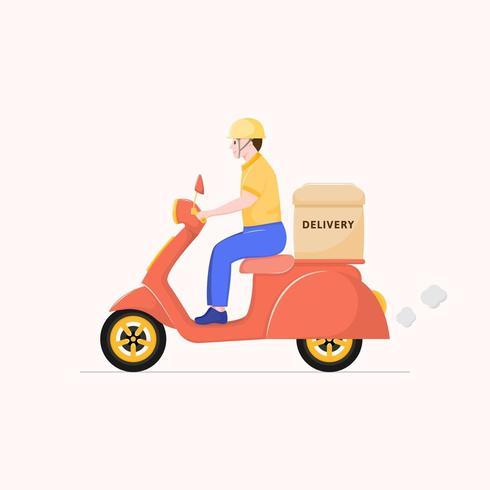 Personaje de dibujos animados repartidor plano, entrega de scooter. vector