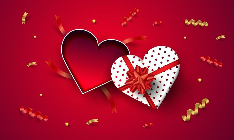 Top view empty open heart gift box valentine's day  vector