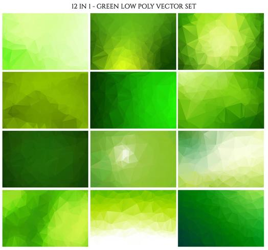 Green color polygonal crystal background set vector
