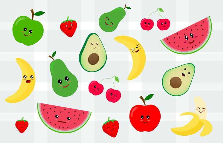 Conjunto de adhesivo kawaii o parche con frutas