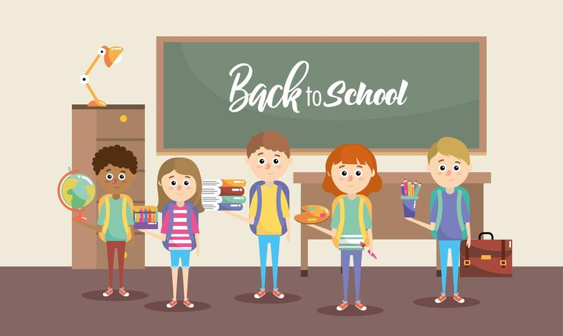 girls and boys students with education supplies vector
