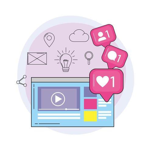 messaggio di chat video e video del sito Web vettore