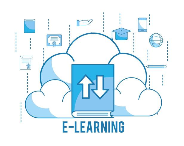 load cloud with graduation cap and education book vector