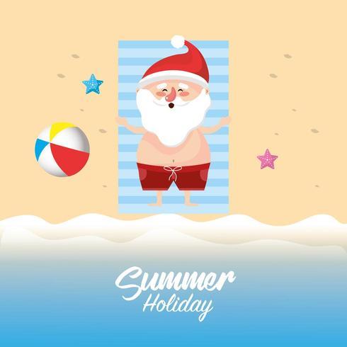 vacaciones de verano con santa claus vector