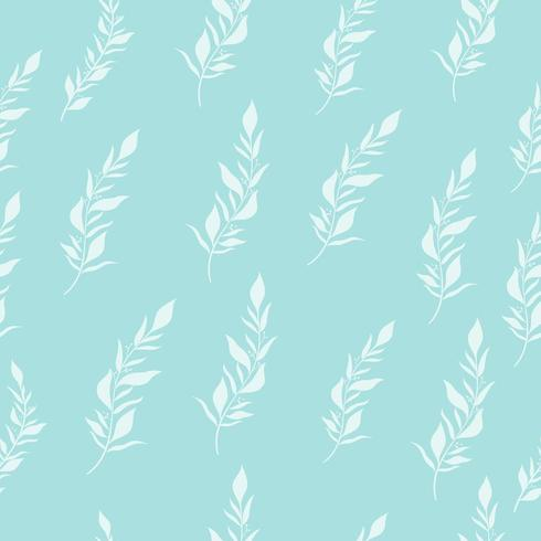 Modello senza cuciture con foglie bianche su sfondo blu.
