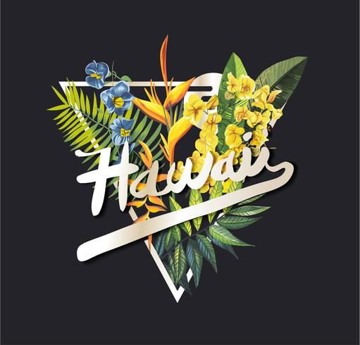 Lema gráfico de Hawaii con flores tropicales vector