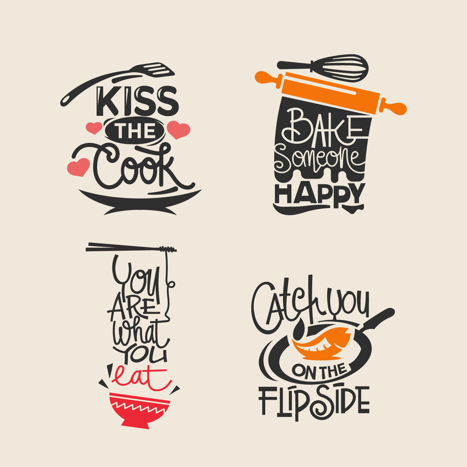 set of cooking quotes label typography and lettering vector