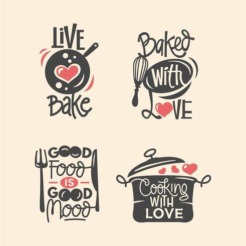 Uppsättning av matlagningcitationstecken etikett, typografi och bokstäver vektor