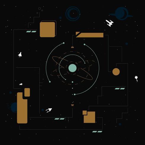 Abstrakt teknik och rymdutforskare bakgrund med rektangel former vektor