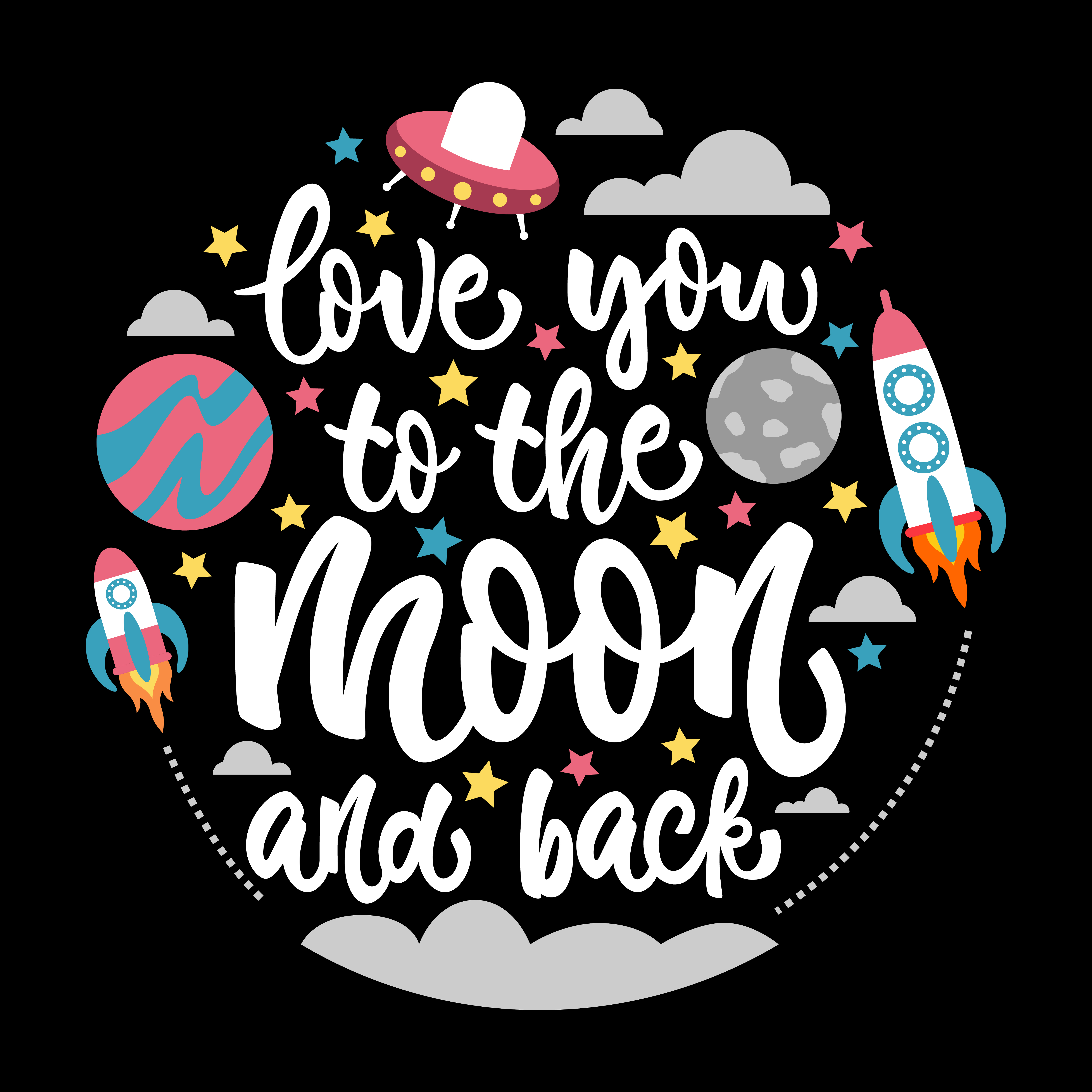 Download love you to the moon and back lettering card - Download ...