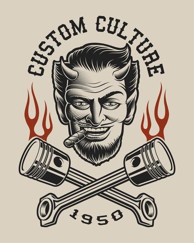 Vektorillustration av en djävul med korsade kolvar vektor
