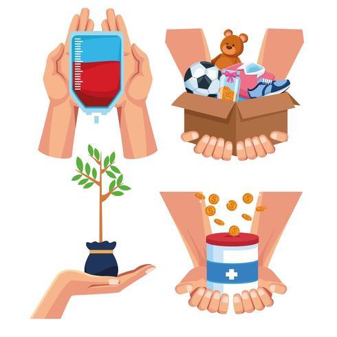 Dibujos animados de caridad y donaciones vector