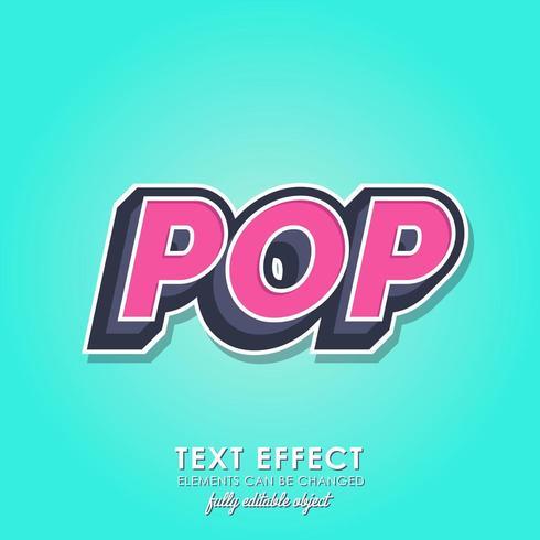 Poptexteffekt med modern 3d-design vektor