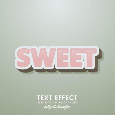 söt premium texteffekt med 3d-design och pastellrosa färg vektor