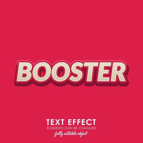 booster texteffekt med djärv, 3d-design och fint rött tema vektor