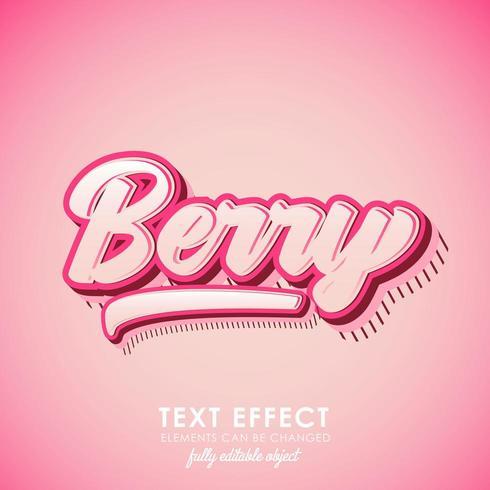 berry letter premium text effect med rosa tema och 3d design och mönster vektor
