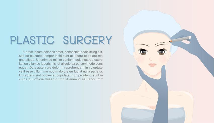 Kvinnan vänder mot tecknad film under plastikkirurgin vektor