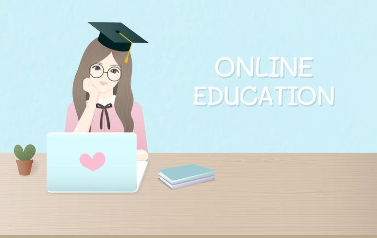 Platt designannonsmall för online-utbildning vektor