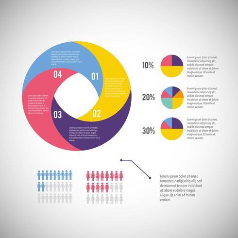 infographic affärsdiagram med informationsstrategi vektor