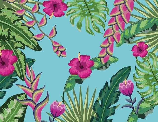 flores naturales con fondo de hojas tropicales vector