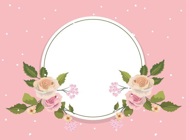 Blommig rund rosram för vintage vektor