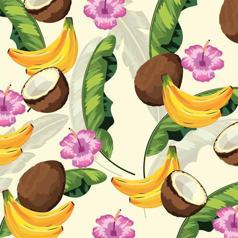 tropiska blad med blommor och fruktbakgrund vektor