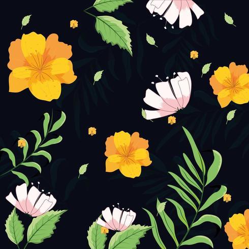 Motivo floreale sfondo nero vettore