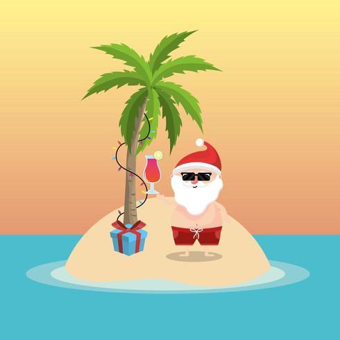 sommarlovssemester med jultomten på ön vektor