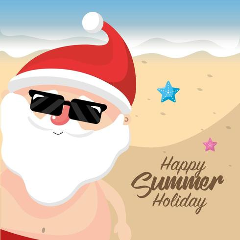 sommar jultomten på stranden vektor