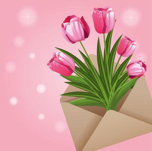vackra blommor kort vektor