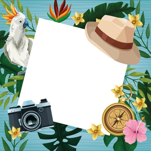 Hello summer card on wooden background vector
