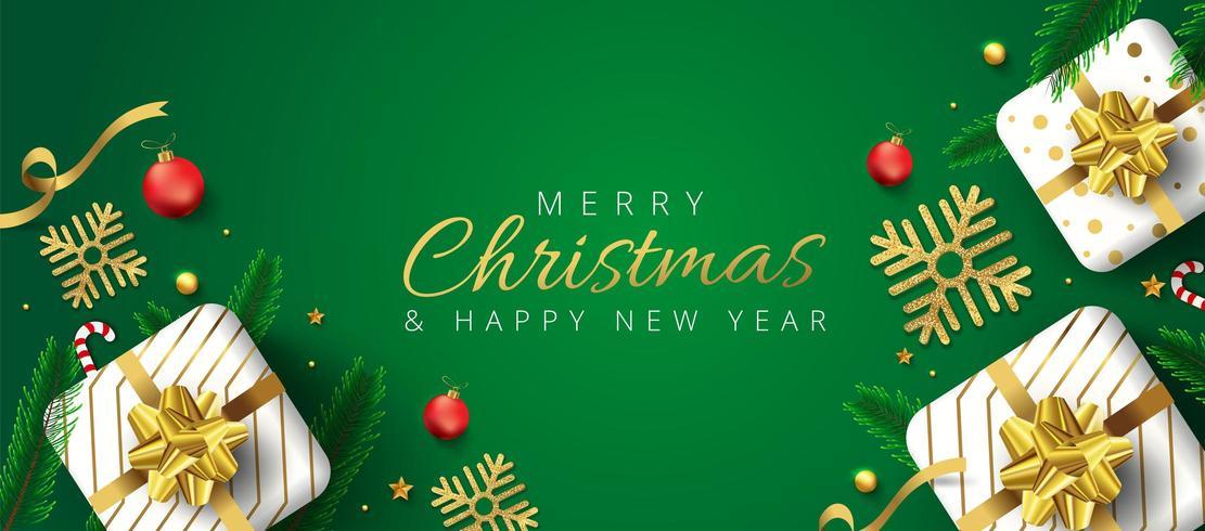 Grön jul- och nyårsrubrik eller baner vektor