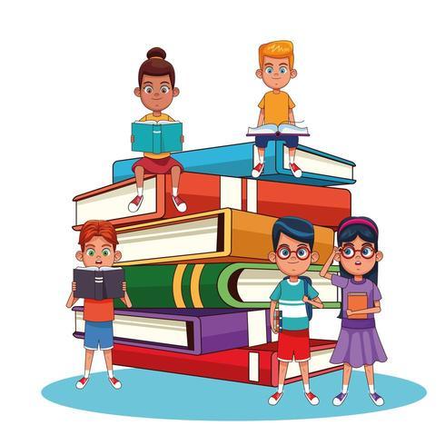 Niños y libros de dibujos animados vector