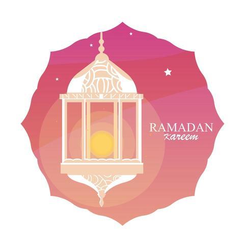ramadan Kareem-lampa som hänger i ram vektor