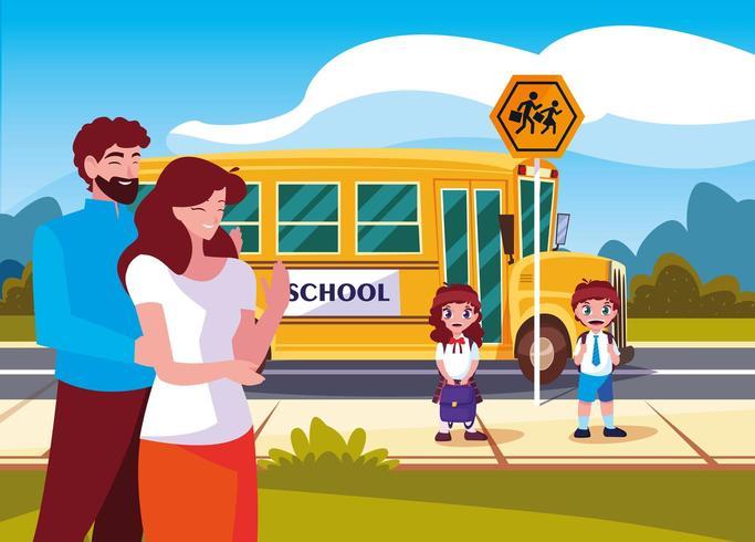 föräldrar farväl till barn i skolbussen vektor