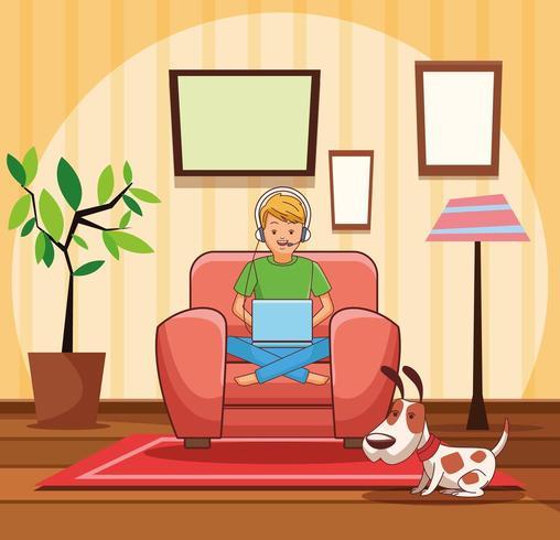 Tonåring med videospeletecknad film vektor